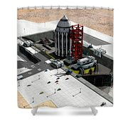 Orion-drive Spacecraft On A Remote Shower Curtain by Rhys Taylor