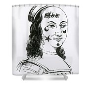 Ornamental Patches On Face, 17th Century Shower Curtain