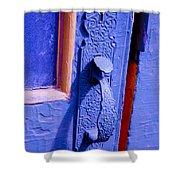 Ornate Blue Handle 2 Shower Curtain