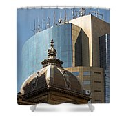 Ornate Old And Plain New Shower Curtain