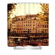 Outdoor Cafe In Lucerne Switzerland  Shower Curtain by Susanne Van Hulst