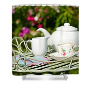Outdoor Tea Party Shower Curtain by Amanda Elwell