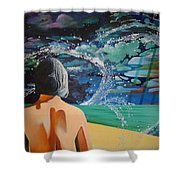 Over Looking The Bay Of Cadiz Shower Curtain