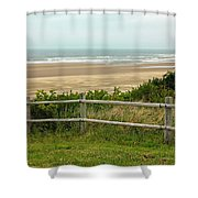 Over The Fence Ocean View Shower Curtain