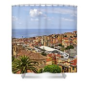 Over The Roofs Of Sanremo Shower Curtain by Joana Kruse