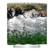 Over The Stones The Water Flows Shower Curtain