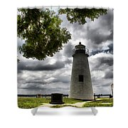 Overcast Clouds At Turkey Point Lighthouse Shower Curtain