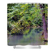 Overcast Reflections At Buck Creek Shower Curtain