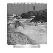 Overflooding Black And White Shower Curtain