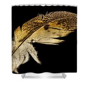 Owl Feather With Water Shower Curtain