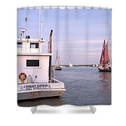 Oyster Boat On The River  Shower Curtain