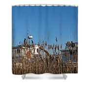 Oyster Boats In Dry Dock  Shower Curtain