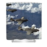 P-40 Pursuits Of The U.s. Army Air Shower Curtain