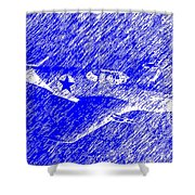 P 51 Mustang Flying In The Rain Shower Curtain