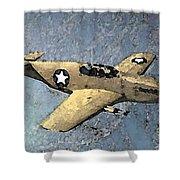 P51 Mustang In Flight Shower Curtain