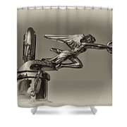 Packard Angel Hood Ornament In Sepia Shower Curtain