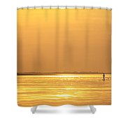 Paddle Boarder At Dawn Shower Curtain