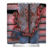 Padlock And Chain On Wooden Door Shower Curtain