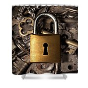 Padlock Over Keys Shower Curtain by Carlos Caetano