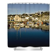 Padstow Marina Reflecting In Water Shower Curtain