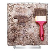 Paint Brush Next To Camarasaurus Shower Curtain