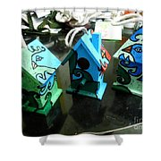 Painted Birdhouses Shower Curtain