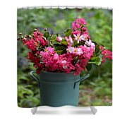 Painted Bucket Of Flowers Shower Curtain
