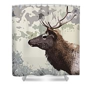 Painted Bull Elk Shower Curtain