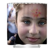 Painted Face At 1st Nativity International Christmas Festival Shower Curtain