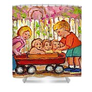 Paintings For Children - Boy - Girl - Red Wagon And Puppies Shower Curtain