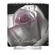 Pale Pink Rose Greeting Card   I Love You Shower Curtain