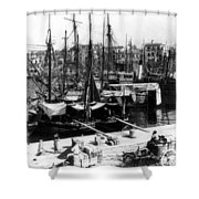 Palermo Sicily - Shipping Scene At The Harbor Shower Curtain