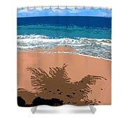 Palm Shadow On The Beach Shower Curtain