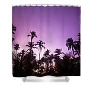 Palm Trees At Dusk, Malaysia, Southeast Shower Curtain