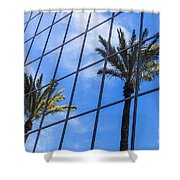Palm Trees Reflection On Glass Office Building Shower Curtain