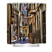 Palma Mallorca Street Scene Shower Curtain