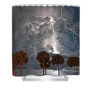Palms And Lightning  Shower Curtain