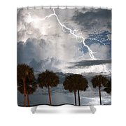 Palms And Lightning 3 Shower Curtain