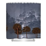 Palms And Lightning 7 Shower Curtain