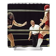 Pampero Firpo Vs Texas Red In Old School Wrestling From The Cow Palace  Shower Curtain
