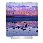 Panamint Range Reflected In Standing Shower Curtain by Tim Fitzharris