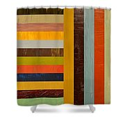 Panel Abstract - Digital Compilation Shower Curtain by Michelle Calkins