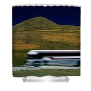 Panned View Of A Bus On Interstate 15 Shower Curtain