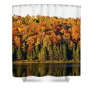 Panorama Of Trees Along The Waters Edge Shower Curtain