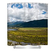 Panorama Of Waiau River Wetland South New Zealand Shower Curtain