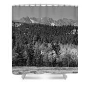 Panorama Scenic Autumn View Of The Colorado Indian Peaks Bw Shower Curtain