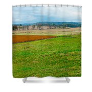 Panorama Valley Farm Shower Curtain
