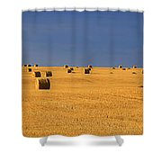 Panoramic Of A Straw Field, Near Val Shower Curtain