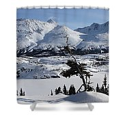 Panoramic Of An Unnamed Mountain Taken Shower Curtain