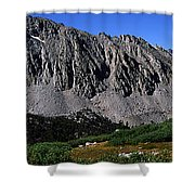 Panoramic Of Hikers On Kersarge Lake Shower Curtain
